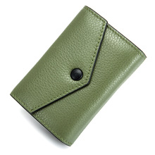 Cow Leather Small Fashion Female Sex Folding Card Bag Multi Convenient Door Card Bank Housekeeper Document ID Holders Collection