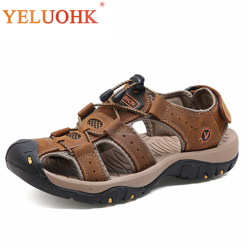 Genuine Leather Men Sandals High Quality Summer Shoes Comfortable Sandals Men