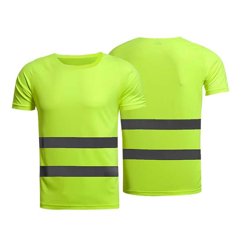 Night Safety Reflective Safety T-Shirt Short Sleeve High Visibility Breathable Tees Tops For Running Cycling