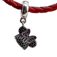 2 PCS Real 925 Sterling Silver Bead Charm Cartoon Black Mouse Hat With Crystal Pendant Bead