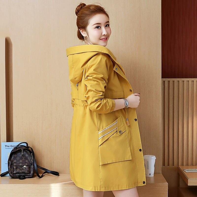 3b7860be 2019 casual con capucha gabardina larga Mujer primavera otoño más tamaño  cremallera bolsillo ...