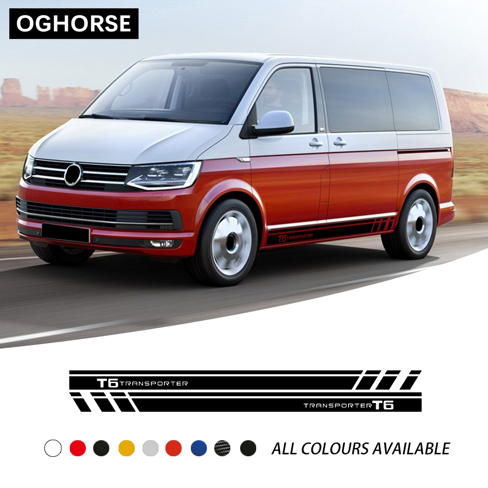 A Pair Racing Stripes Door Side Stripes Skirt Sticker Graphics Body Vinyl Decal For Volkswagen TRANSPORTER  T5 T6 Accessories