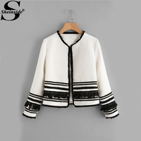 Sheinside White Pearl Fringe Tape Embellished Tweed Blazer Collarless Tassel Fitted 2017 Winter Women Workwear Elegant