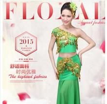 New Chinese Traditional Dress Girls Women Dai National Folk Fan Dance Costume Long Mermaid Peacock Dance Costume Dress