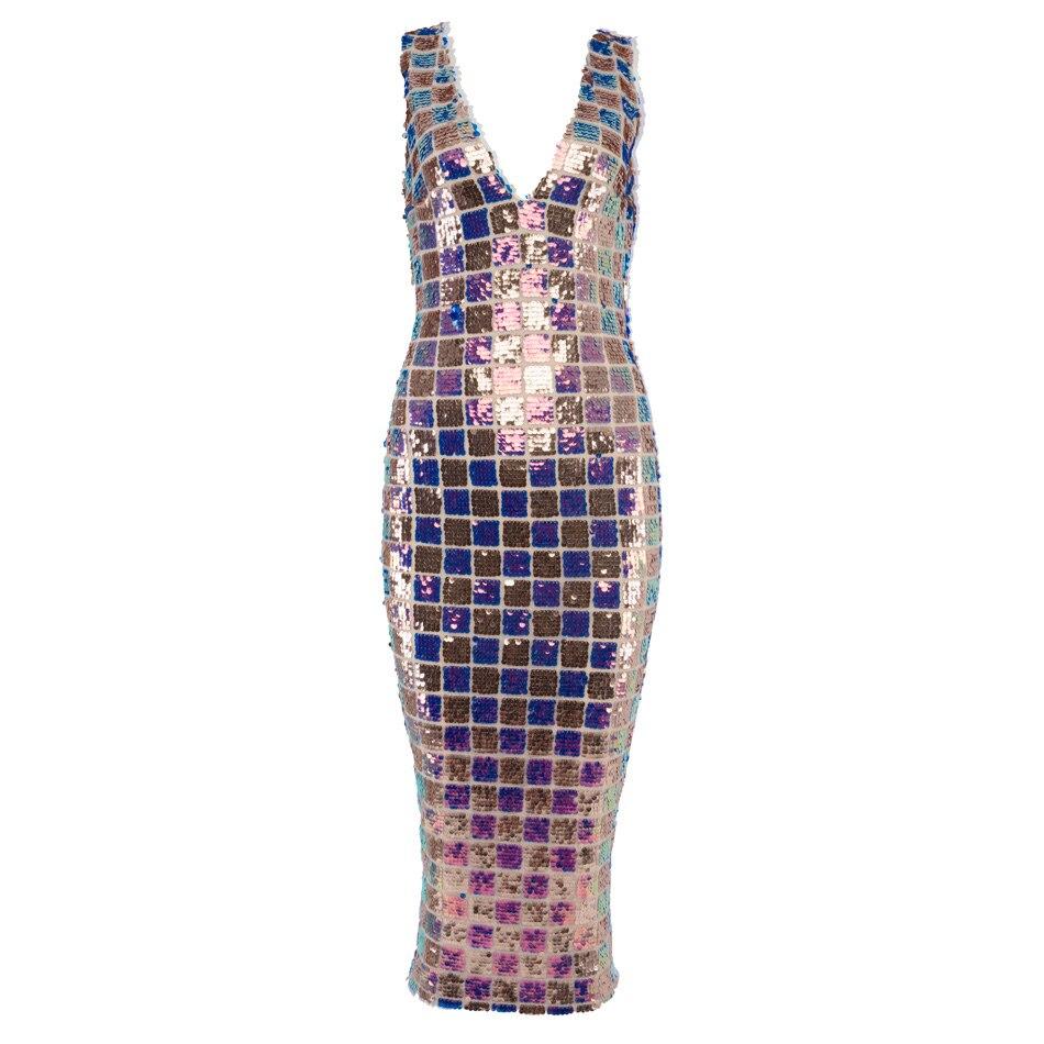570a8af13fc83 Sparkle Plaid Sequin Dress 2018 Designer Mix Colour Women Sleeveless V Neck  Summer Party Dress