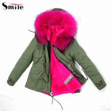 Women Luxury Mr Fur Hood Jacket Parka Coat Ladies New Winter Parkas Natural Raccoon Fur Collar Hooded Jackets Coats Outerwear