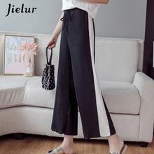 Jielur Summer Chiffon Pleated Straight Pants Women Korean Loose Wide Leg Casual Side Strip Hit Color Capris Pantalon Mujer