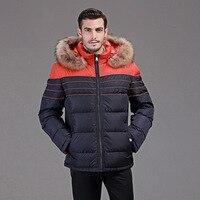 Zima w dół kurtki mężczyzn Europa i USA minus 40 stopni ciepła kaczka w dół kurtki Naprawdę szop futer kołnierzykiem żakiet rozmiar 46-54 Q109