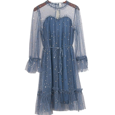 Livraison gratuite femmes vintage lanterne manches paillettes étoiles à volants col longue robe/bleu/rose/ivoire/noir robe médiévale