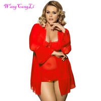 Sexy plus size lingerie high quality soft nightgown Top + G string+Coat sexy pajamas