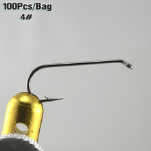 MNFT 100PCS#4 2X Long Stainless Carbon Steel Barbed Dry Fly Tying Hook Fly Fishing Hook Black Nickle Color Hot Selling Wholesale