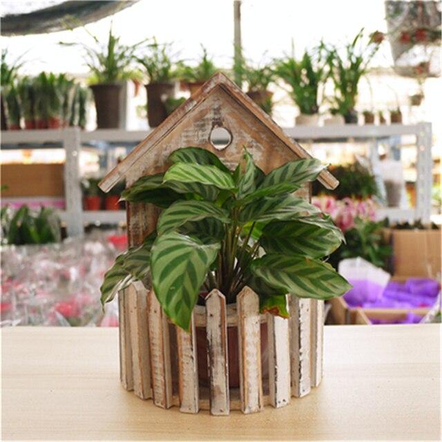 Hanging Plant Basket Decor Garden Supplies Flower Pot Wooden Planter