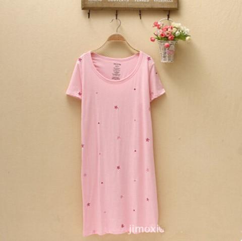 Vetement Femme Cotton Women Nightgowns New 2018 Nightgown Female Plus Size Sleepshirt Loose Casual Print Sleepwear Night Dress  1