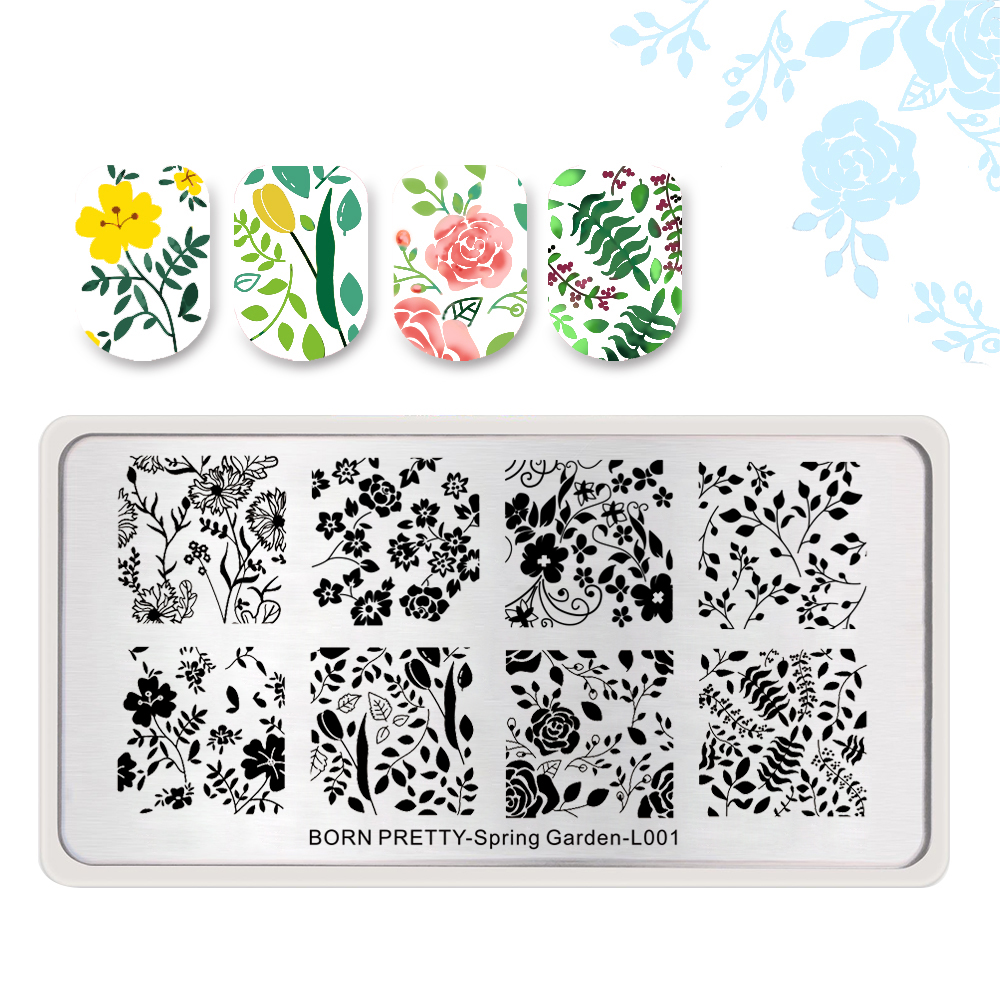 <font><b>BORN</b></font> <font><b>PRETTY</b></font> Flower Leaf Floral Nail Stamping Plate Nail Stamp Template Manicure Art Stencil Beauty Tool Spring Garden <font><b>L001</b></font> image