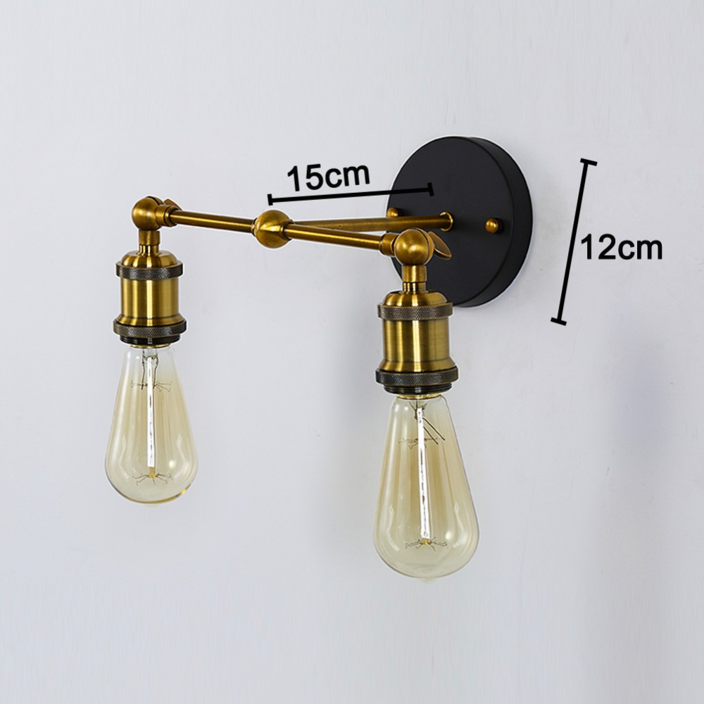 Applique Ikea Da Interno us $48.24 |vintage retrò industriale ha condotto la lampada da parete  applique abajur bagno rame ferro 2 lati applique da parete camera da letto  loft