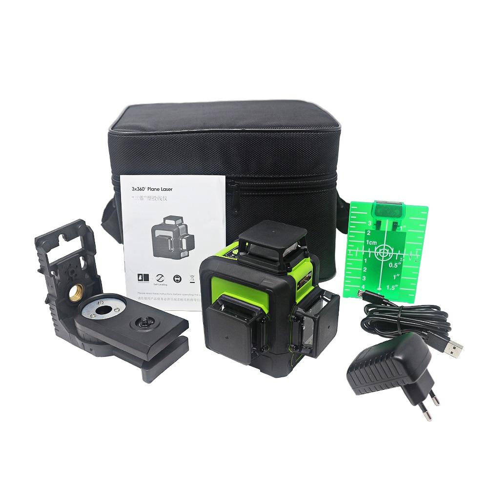12 linien 3D Laser Level UNS/EU Stecker Aufladbare Selbst Nivellierung 360 Horizontale Vertikale Grüne Laser Strahl Linie outdoor Puls Modus