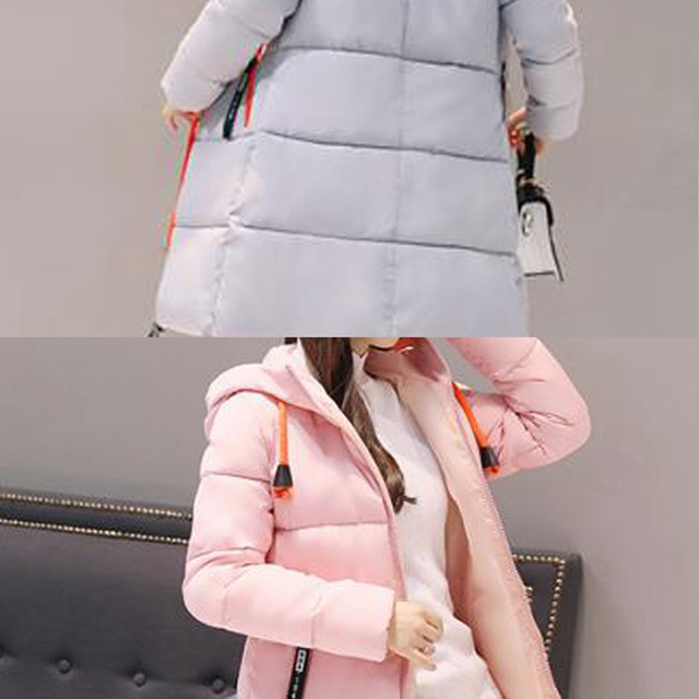 2017  Fashion Winter jacket Long section Warm Women Cotton coat Long sleeve Hooded Solid color Women Outerwear plus size WK203