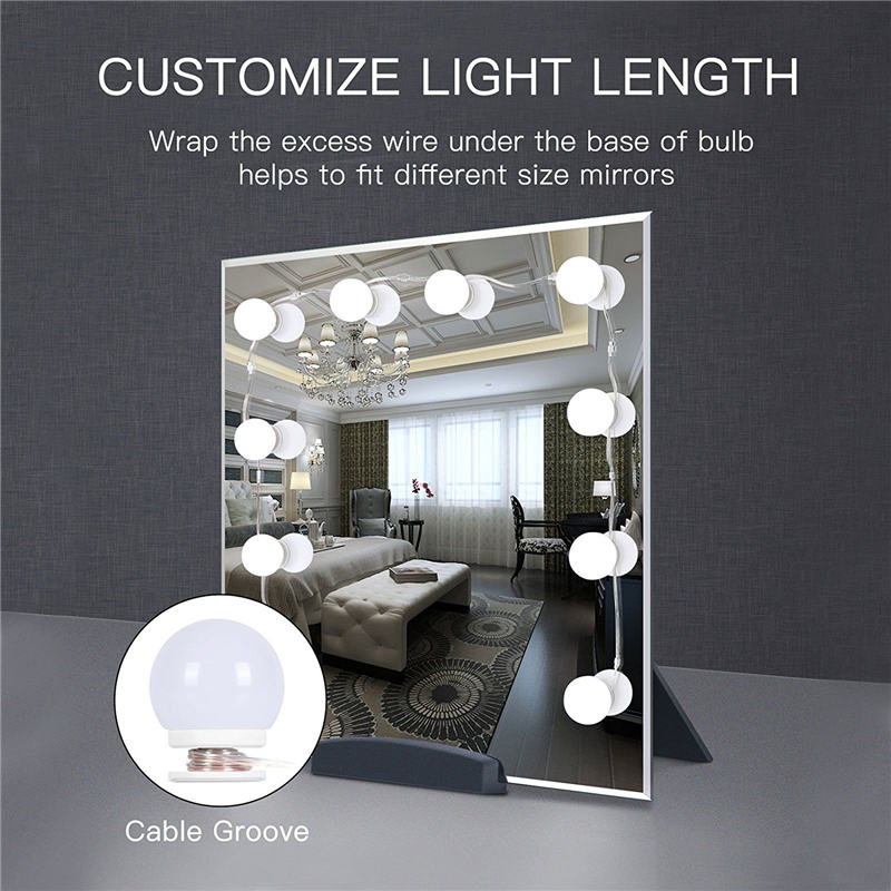 WRUMAVA LED photography studio Light Makeup Mirror Vanity Bulb Kit USB Charging Port DIY Adjustable Brightness Comestic Lamp