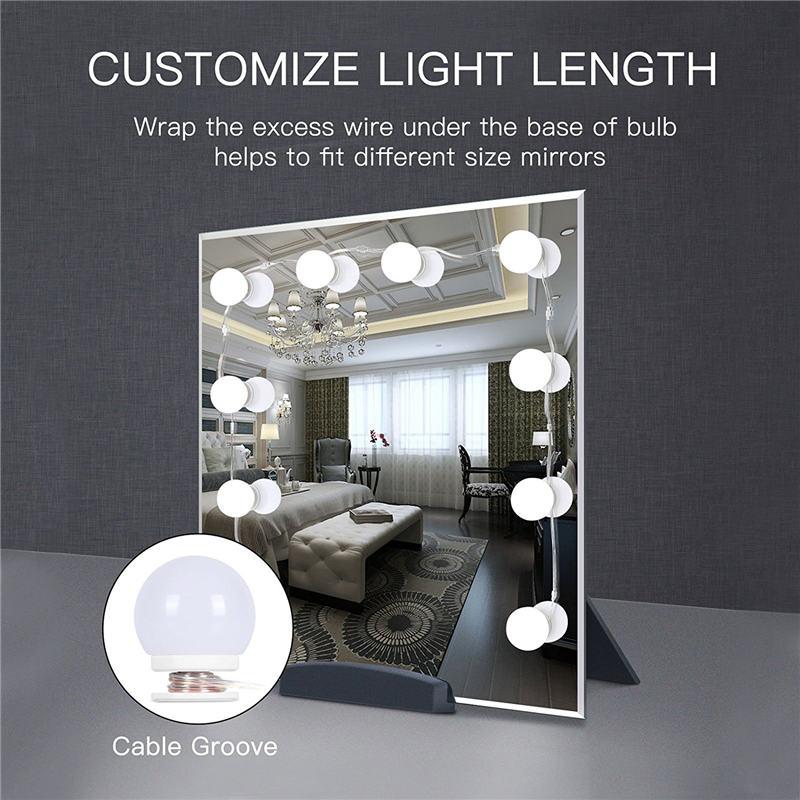 WRUMAVA LED studio fotografico Luce box Specchio Per Il Trucco Cosmetico Kit Lampadina Porta USB di Ricarica Luminosità Regolabile Comestic Lampada