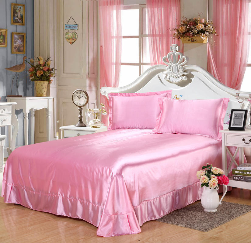 Luxury Pink Twin Queen King Size 1pcs Silk Satin Flat Sheets Bed Sheet Bedclothes Bedspread