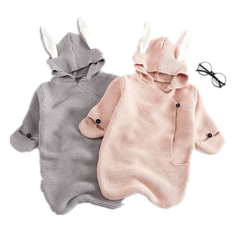 2018 Baby Girl Winter Clothes Boys And Girls Sweaters 3D Rabbit Cotton Pullover Knitted Sleeping Bag Infants Knit Wear Clothes boys and girls cartoon sweaters 2017 autumn winter new children knitting clothes baby casual cotton knit wear pullover tops 3 8y