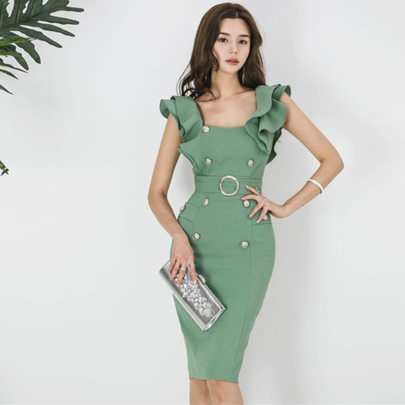 Korean New 2019 Summer Green/<font><b>Pink</b></font>/Light <font><b>Blue</b></font> Pencil <font><b>Dress</b></font> OL <font><b>Women</b></font> <font><b>Sexy</b></font> Square collar Ruffles Double-breasted Bodycon Tank <font><b>Dress</b></font> image