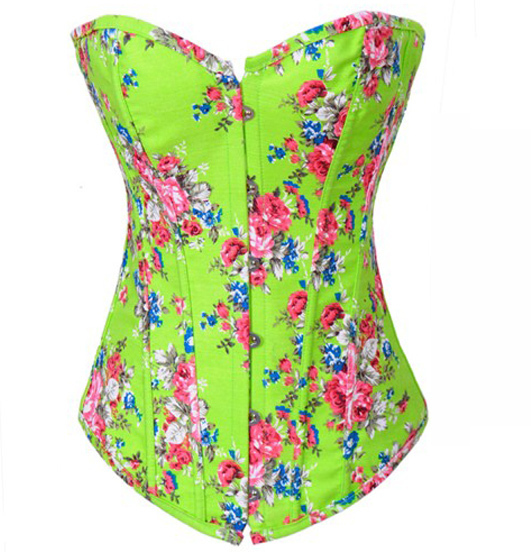 TITIVATE Sexy Women Corset+G String Set Corset,Pink Flower Printing Bustier sexy corset Overbust Corsets