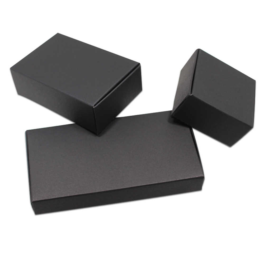 20pcs/Lot Black Cardboard Paper Boxes Blank Kraft Paper Carton Box Folding Handmade Soap Jewelry Party Small Gifts Packaging Box