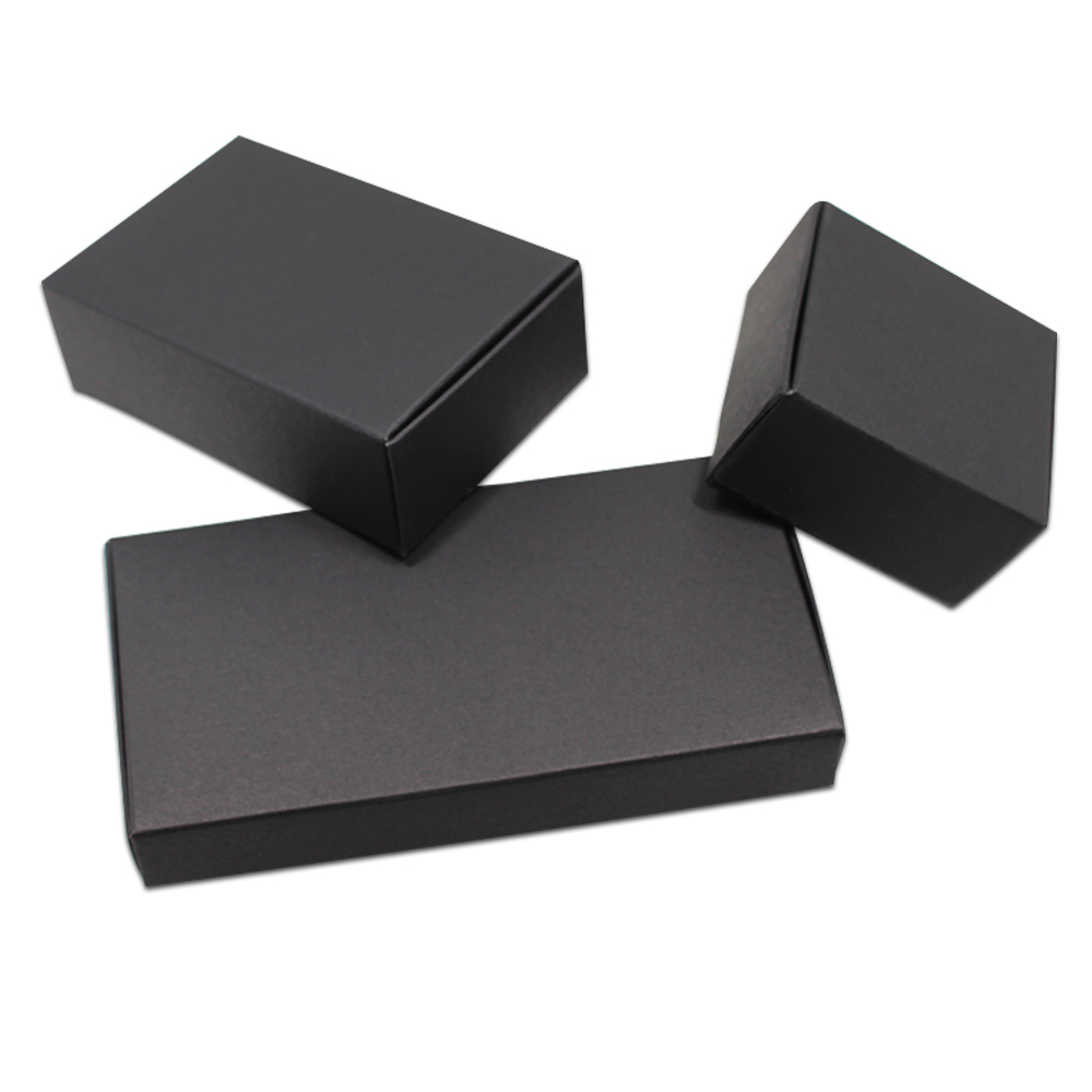 100PCS/ Lot Black Cardboard Paper Boxes Blank Kraft Paper Carton Box Folding DIY Soap Party Jewelry Crafts Gifts Packaging Box