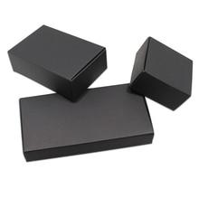 20 adet / grup Siyah Karton Kağıt Kutuları Boş Kraft Kağıt Karton Kutu Katlama El Yapımı Sabun Takı Parti Küçük Hediyeler Ambalaj Kutusu