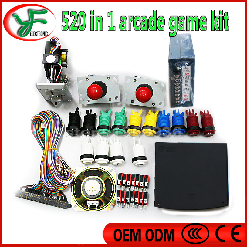 US $106 0 |DIY Jamma Arcade game kits for 520 in 1 pcb Power Supply,Arcade  joystick ,Arcade Buttons ,Speaker for MANE Arcade Game-in Coin Operated