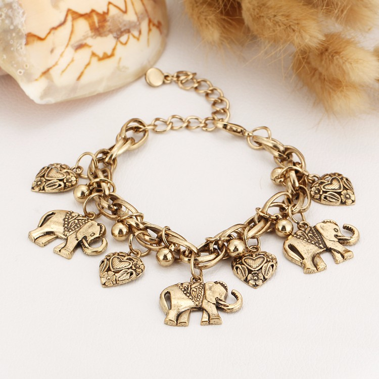 IF YOU Vintage Silver Color Elephant Charm Bracelet For Men Bohemian Statement Bracelets Bangles pulseira Feminina Jewelry Gift 10