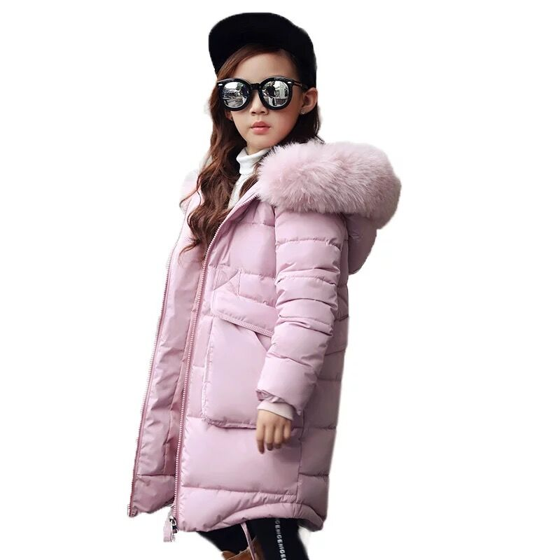 Girls Winter Warm Long Padded Jacket Girl Christmas School Long Sleeve Fur Collar Hooded Outerwear Baby Jackets Kid Clothes chic texture spliced stand collar long sleeve jacket