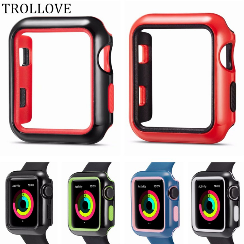 NEW 2in1 Dual Colors Soft Silicone Frame Case Bumper For Apple Watch Series 1 2 3 Cover Frame Full Protection 42mm 38mm Shell new silicone case watch frame for apple watch series 3 2 1 38mm 42mm watch band full protection case cover for apple iwatch 3 2