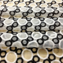 Big Promotion Price!! High quality organza embroidery fabric black and white circle breadstuff  wide: 125cm