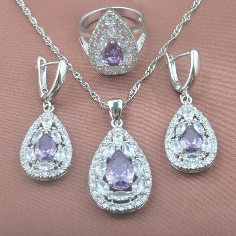 Purple Zirconia Womens 925 Sterling Silver Noble Design Jewelry Sets Necklace Pendant Earrings Ring Free Shipping TZ0335
