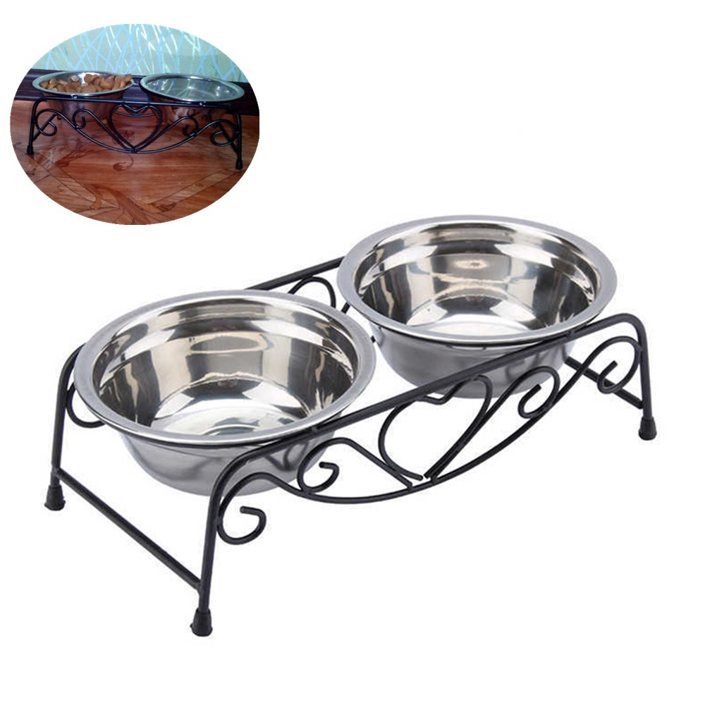 1Pc Pet Dog Bowl Feeder Double Stainlesss