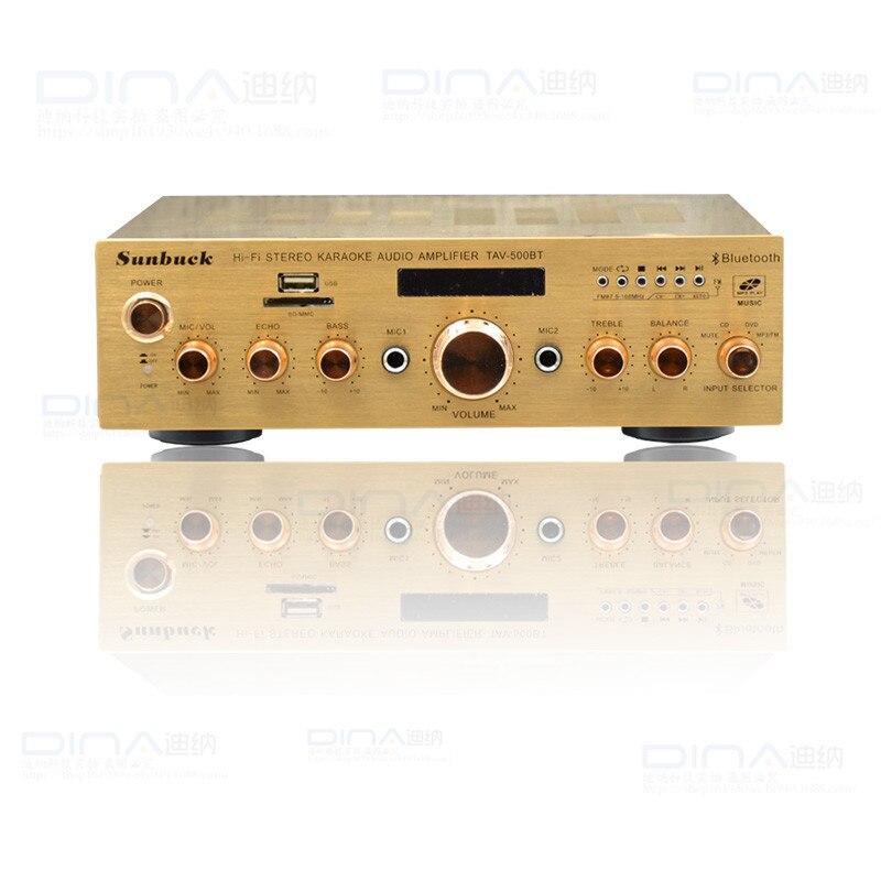2018 TAV-500BT Bluetooth amplifier hifi 2.0 with computer function display digital karaoke home amplifier цена