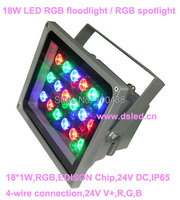 DMX compitable high quality 18W LED RGB floodlight RGB LED wall washer 24V DC IP65 DS-TN-05-18W-RGB 2-Year warranty