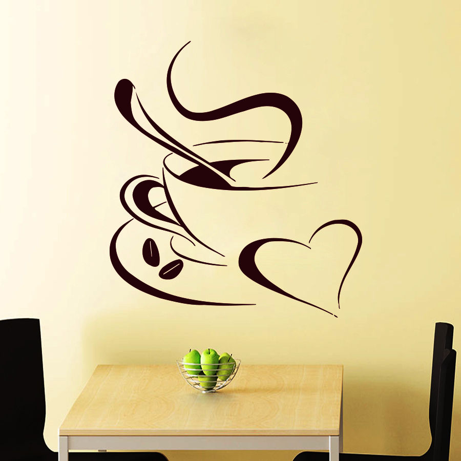 YOYOYU 40 colors Art Vinyl wall sticker Coffe Cup with Love Removeable Wall decal Kitchen Saloon wall Decor Art Poster ZX083