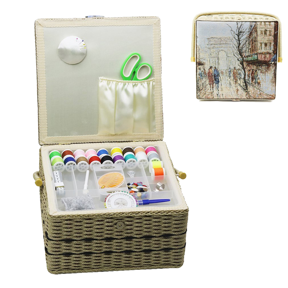 Sewing Box Kit White Head Pins 30 Hand Sew Needles