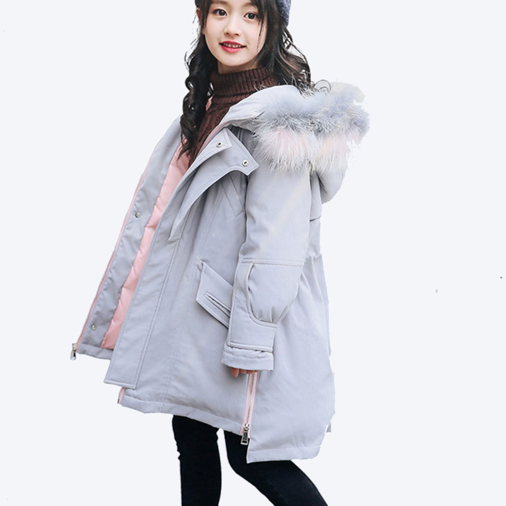Girls Winter Jackets 80% White Duck Down Coat Hooded Thick Fur Girls Coat Solid Girls Jacket for Teenage 4 6 8 10 12 Years Old princess girls winter coat long duck down thick faux fur hooded winter jacket for kids girls age 6 8 10 12 14 years old