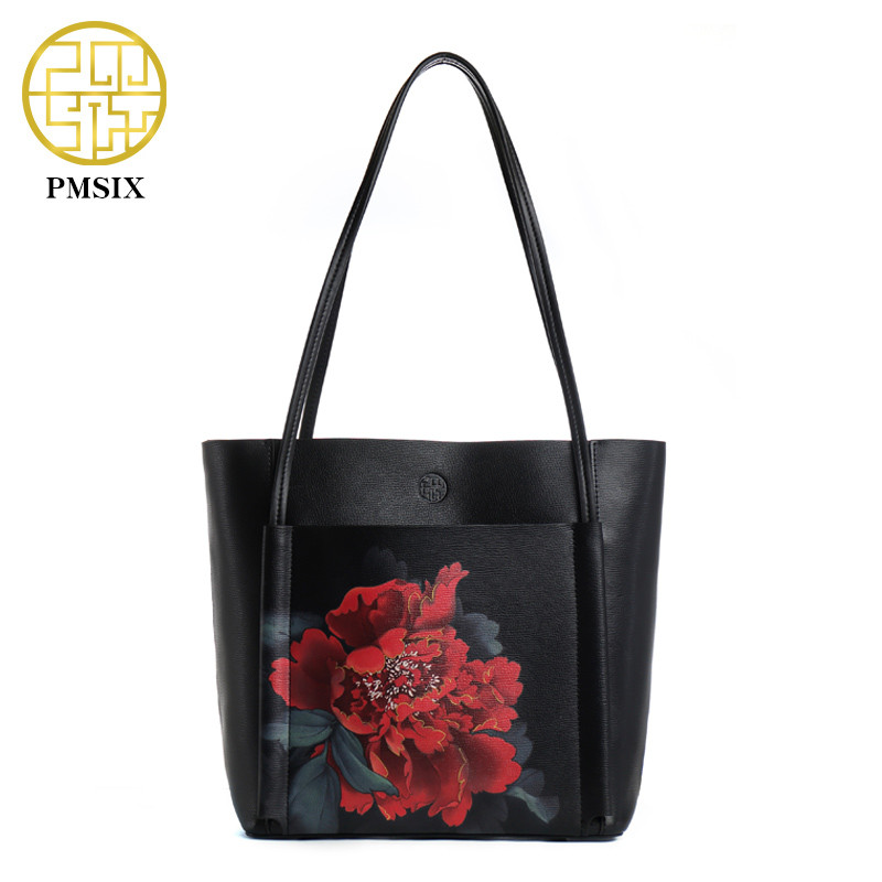 PMSIX Winter Cow Leather Shoulder Bags New Vintage Women Print Flowers High Quality Tote bags soft versatile Designer Handbags