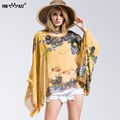 FROMMAZZ 2016 New Summer Casual Fashion Floral Women Ladies Sexy Batwing Sleeve Loose Chiffon Floral Printed Blouse Tops FS16019
