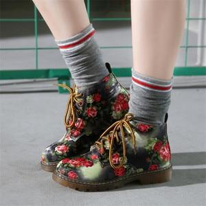 Image 4 - Cuculus סתיו נשים קרסול מגפי נמוך עקבים פרח דירות נעליים יומיומיות אישה אוקספורד השרוכים נעלי אופנוע בתוספת גודל 40 1416