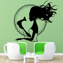 Beauty Blowing hair Wall Stickers Personalized Creative Kids Room Nature Decor Art MURAL Drop Shipping