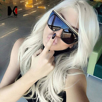 8 Colors Fashion Large Frame Personalized Hand Made Woven Sunglasses Cool Women Metal Chain Decoration Glasses