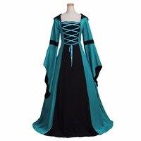 Gótico vitoriano medieval dress cosplay adulto verde pavão vintage dress traje cosplay para o dia das bruxas partido do carnaval