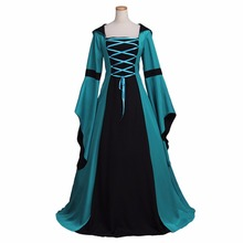 Medieval Dress Cosplay Adult's Peacock Green Vintage Gothic Victorian Dress Costume Cosplay for Halloween Carnival Party