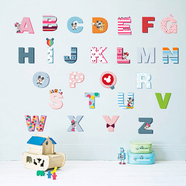 Cartoon Mickey English Letters Alphabet Wall Stickers For Kids Rooms Nursery Room Decor Children Decal